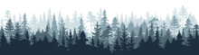 Pine Forest. Silhouette Wood T...
