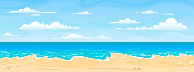 Krajolik morske plaže. Crtani ljetni sunčani dan, vodoravna panorama s pogledom na ocean, vodeni pijesak i oblaci. Pozadina za odmor na plaži vektora