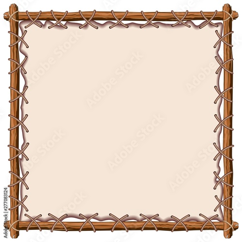 Foto op Plexiglas Draw Wood and Leather Frame Vector Background
