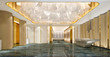 3D Render of Luxury Hotel Reception and Lobby