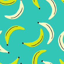 Hand Painted Seamless Pattern With Bananas In Yellow, Black And Cream On Blue Aquamarine Background.