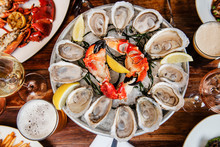 Seafood Platter With Oysters And Crab Claws