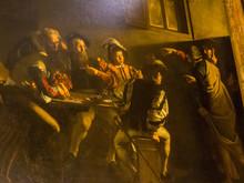 """The Famous Painting By Caravaggio """"The Calling Of St. Matthew"""" (Italian: La Vocazione Di San Matteo) In The San Luigi Dei Francesi Church, Rome, Italy"""
