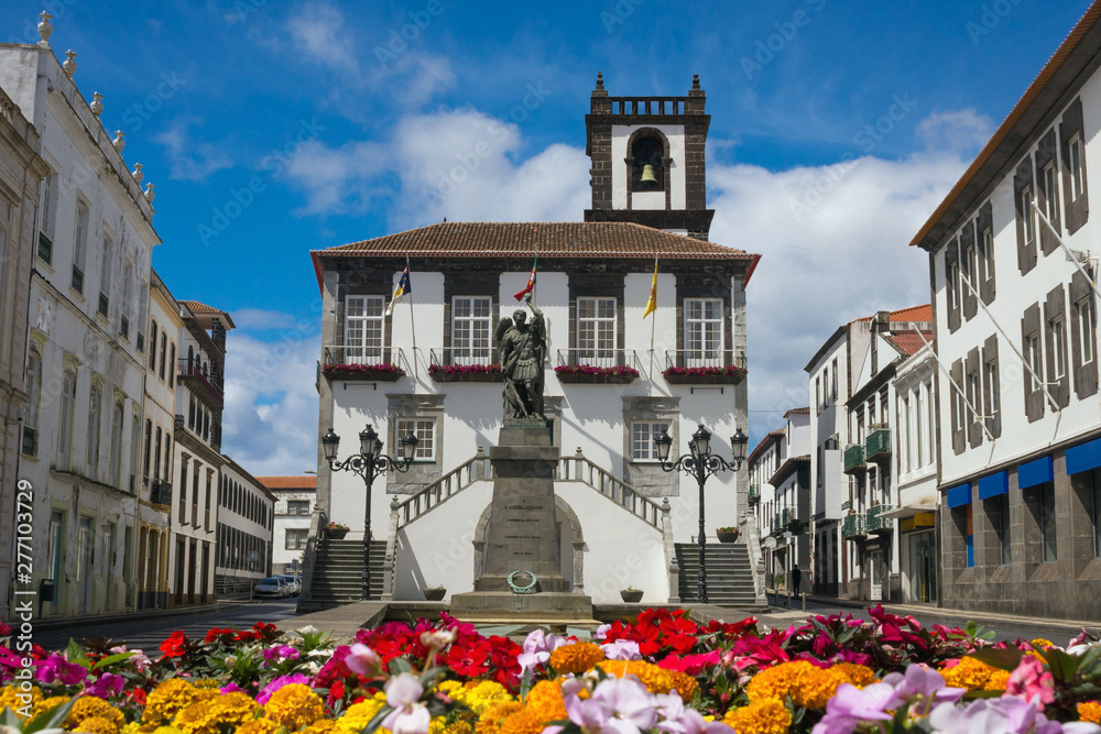 Fototapety, obrazy: Ponta Delgada City Hall. Beautiful baroque building.with a bell tower in the capital of the Azores. Portugal, Sao Miguel.