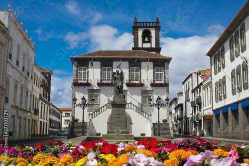 Ponta Delgada City Hall. Beautiful baroque building.with a bell tower in the capital of the Azores. Portugal, Sao Miguel. #277103729
