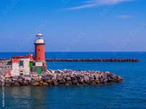 Montage in der Fensternische Leuchtturm The lighthouse on the Island of Ischia, Italy