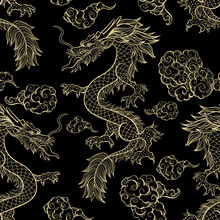 Oriental Dragon Flying In Clouds Seamless Pattern. Traditional Chinese Mythological Animal Hand Drawn Illustration. Golden Festival Serpent On Red Background. Wrapping Paper, Wallpaper, Textile Design