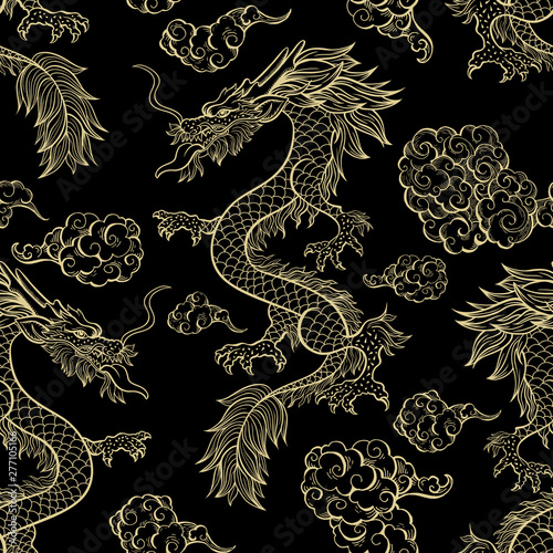 Oriental dragon flying in clouds seamless pattern Fotobehang