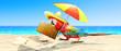 canvas print picture - Papagai im Urlaub am Strand