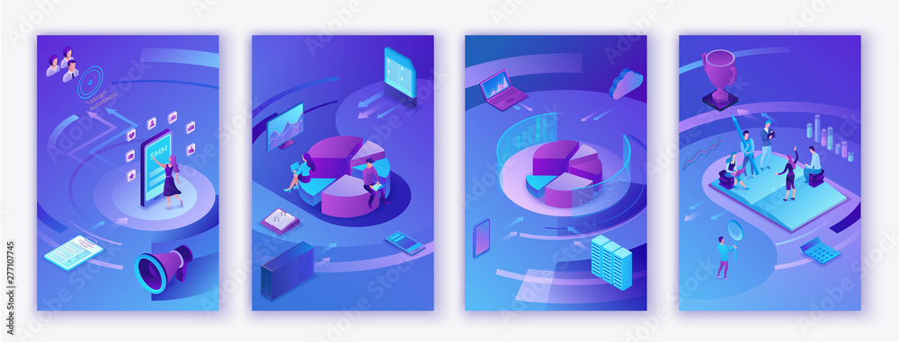 Fototapety, obrazy: Data analysis center, business people analyze diagram, kpi analytics, digital technology in finance, AI concept, big research isometric vertical mobile template, teamwork 3d background