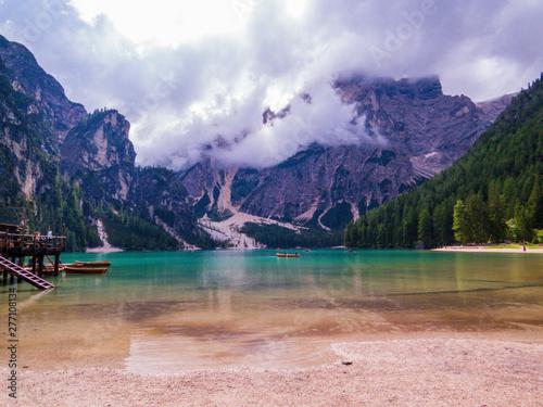 Tuinposter Alpen Lake Braies (also known as Pragser Wildsee or Lake Prags), South Tyrol, Dolomites, north Italy