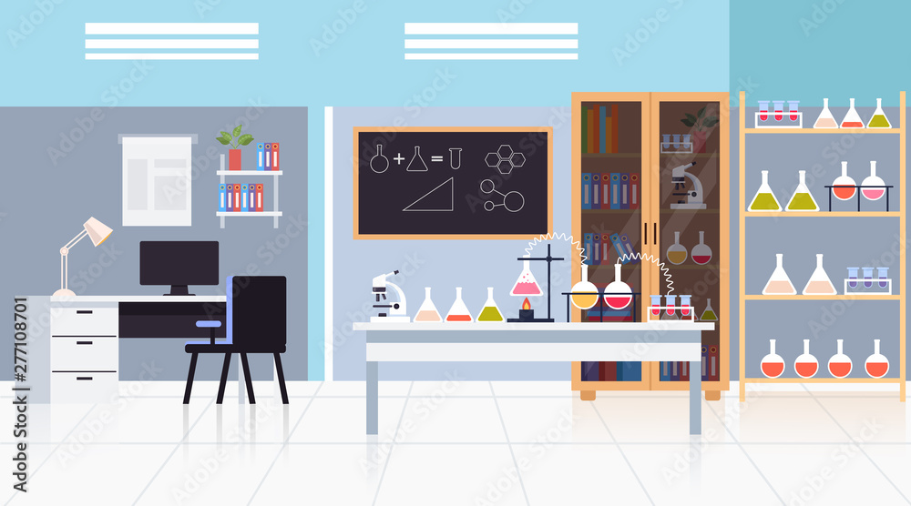 Fototapety, obrazy: Empty laboratory science concept. Vector flat graphic design isolated illustration