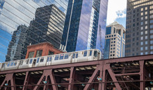 Chicago Train On A Bridge, Skyscrapers Background, Low Angle View