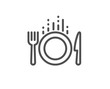 Food line icon. Cutlery sign. Fork, knife symbol. Quality design element. Linear style food icon. Editable stroke. Vector