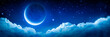 Leinwandbild Motiv Banner Of Bright Glowing Crescent Moon Above Fluffy Clouds With Starry Sky Background