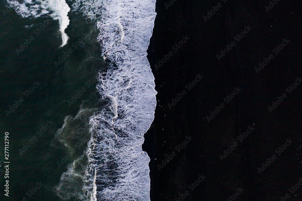 Fototapety, obrazy: Overhead view of scenic sea waves on black sand beach in Iceland