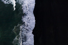 Overhead View Of Scenic Sea Waves On Black Sand Beach In Iceland
