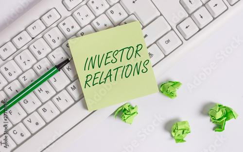 Valokuva  Word writing text Investor Relations