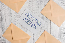 Text Sign Showing Meeting Agen...