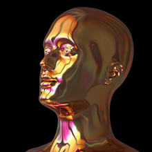 3d Illustration Of Iron Man Head Stylized Metallic Golden Polished