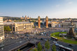 BARCELONA - April. 2019: Aerial view of the Placa d'Espanya, also known as Plaza de Espana, one of Barcelona's most important squares, in Barcelona, Spain.