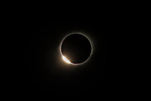 The Baily's Beads Effect And Diamond Ring Effect During Total Solar Eclipse Chile 2019, Amazing View Of The Sun Covered By The Moon During Totality Phase While The Last Sunbeams Pass The Moon Craters