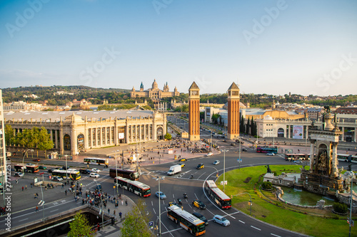 Keuken foto achterwand Barcelona BARCELONA - April. 2019: Aerial view of the Placa d'Espanya, also known as Plaza de Espana, one of Barcelona's most important squares, in Barcelona, Spain.