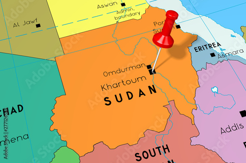 Sudan, Khartoum - capital city, pinned on political map - Buy this on luanda on world map, abidjan on world map, new delhi on world map, mongolia on world map, lagos on world map, johannesburg on world map, algiers on world map, dakar on world map, cairo on world map, cape town on world map, tripoli on world map, mogadishu on world map, mosul on world map, sudan on world map, casablanca on world map, riyadh on a world map, ottawa on world map, nairobi on world map, kinshasa on world map, addis ababa on world map,