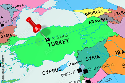 Turkey, Ankara - capital city, pinned on political map ...