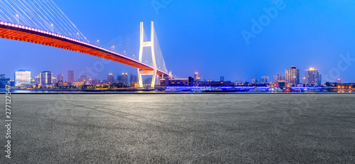 Foto auf Leinwand Shanghai Shanghai Nanpu bridge and asphalt road scenery at night,China