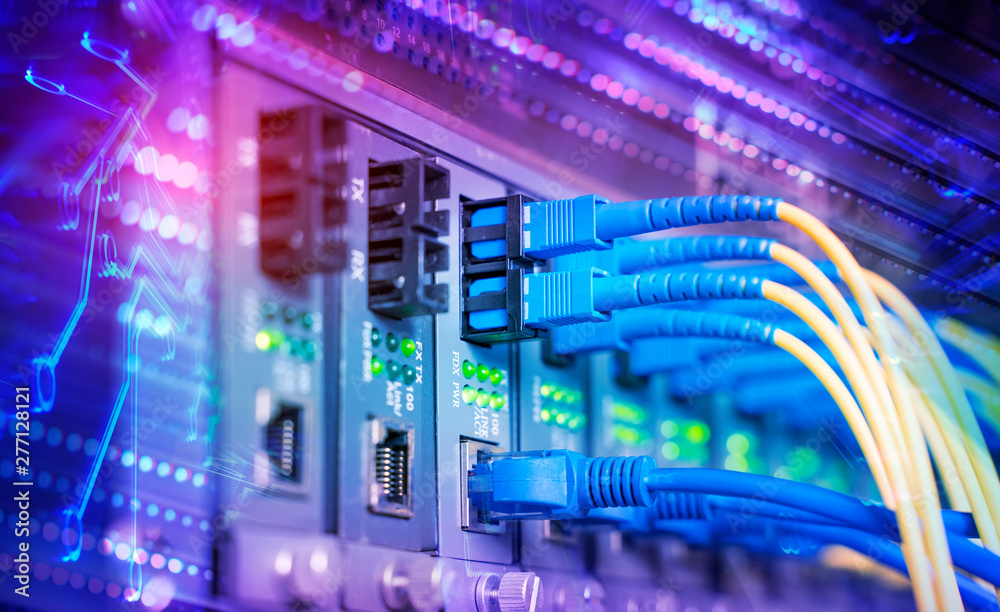 Fototapeta Fiber Optic cables connected to optic ports and UTP, Network cables connected to ethernet ports.