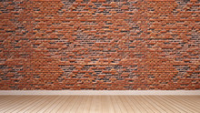 Orange Brick Wall And Wood Floor Decorate In Empty Room For Artwork. Brick Wall Space For Add Message Or Artwork Design. 3D Rendering