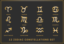 Set Of 12 Zodiac Constellations. Golden Signs Of The Zodiac In A Linear Style With Golden Inscriptions Isolated On A Black Background. Vector.