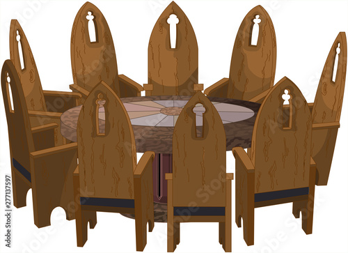 Poster Magie Chairs around Round Table