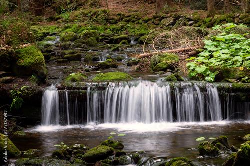 Fototapety, obrazy: Water cascading over a rocky shelf in a river