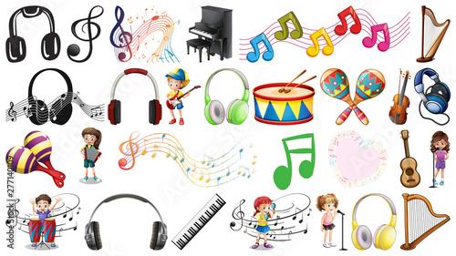 Poster Jeunes enfants Set of musical objects