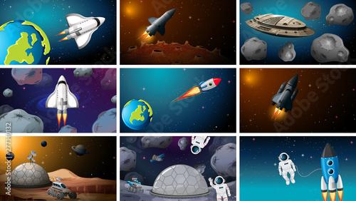 Poster Jeunes enfants Set of space exploration scenes