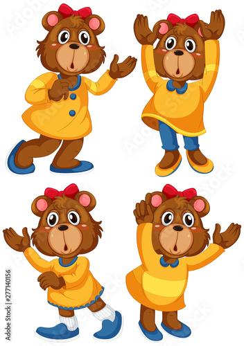 Poster Jeunes enfants Set of bear cartoon character