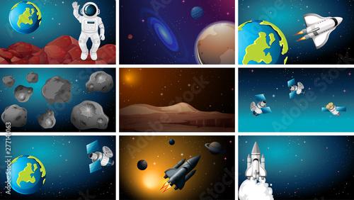 Poster Jeunes enfants Set of space scene