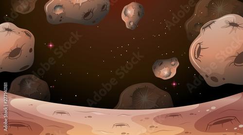 Poster Jeunes enfants Moon scene with asteroids