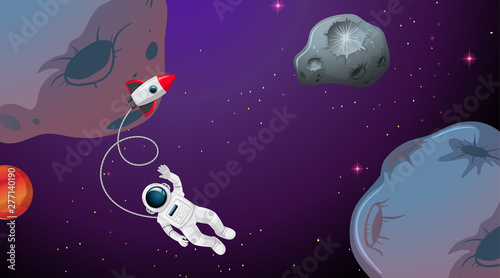 Poster Jeunes enfants An astronaut in the space