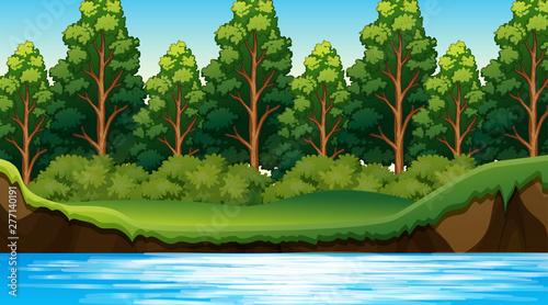 Poster Jeunes enfants Jungle scene with river