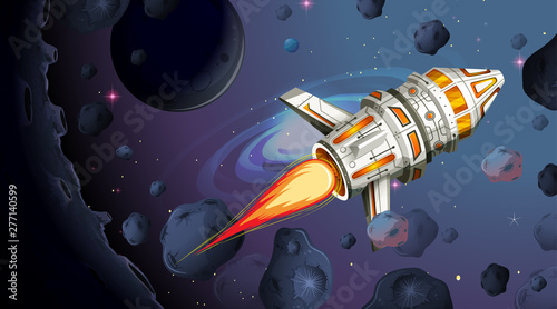 In de dag Kids Rocket ship firing with space background