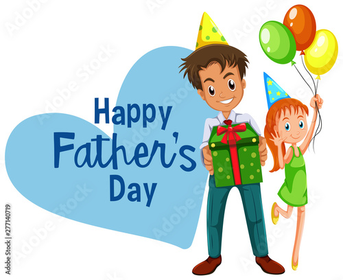 Poster Jeunes enfants Happy fathers day card