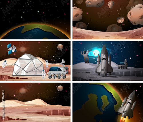 Poster Jeunes enfants Different space scene backgrounds