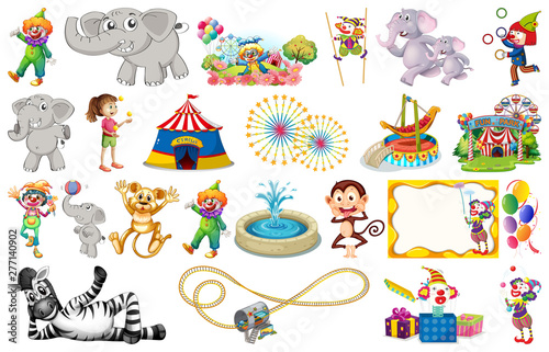 Poster Jeunes enfants Set of animal and circus