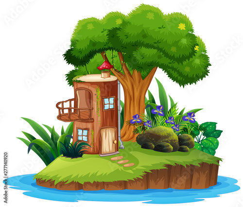 Poster Jeunes enfants Island with tree house
