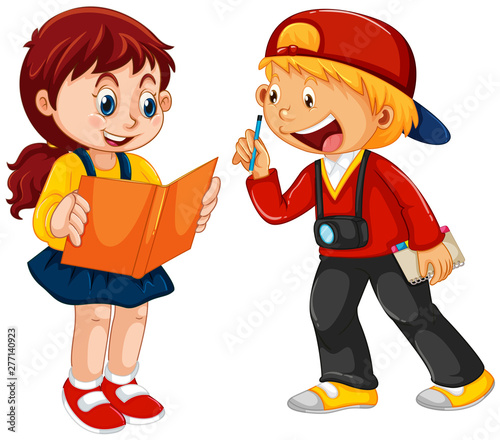 Poster Jeunes enfants Boy and girl children character