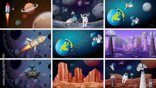 Poster Jeunes enfants Scenes of space backgrounds
