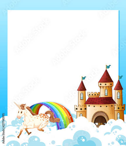 In de dag Kids Unicorn and castle template frame